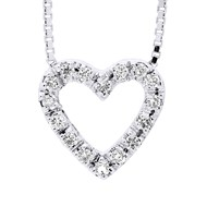 Collier COEUR Diamant - Or Blanc 9 Carats