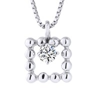 Collier Square Diamants - Or Blanc