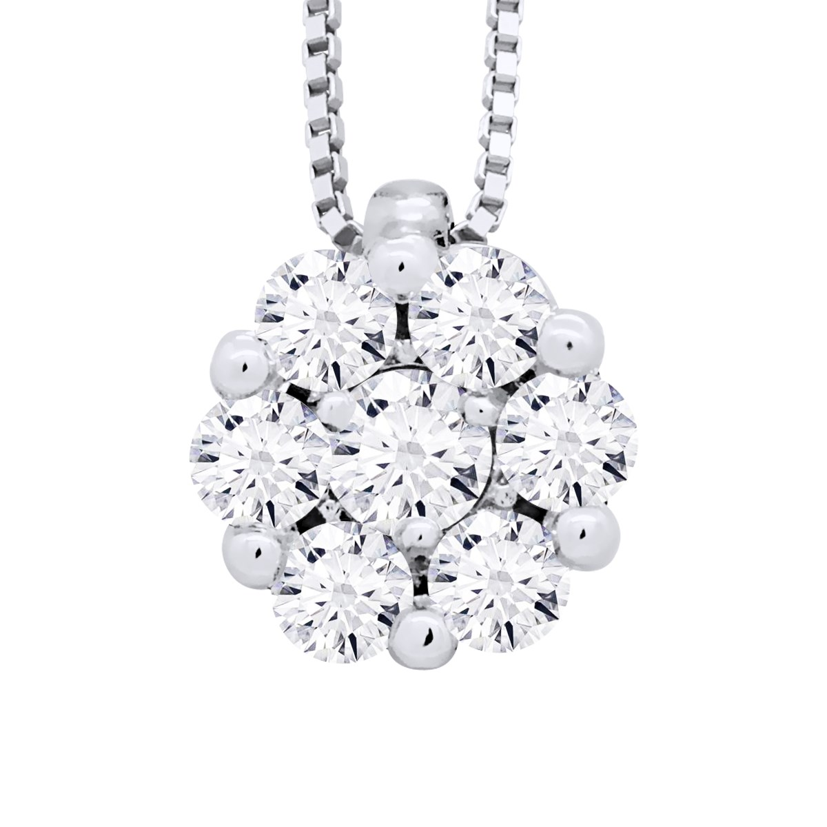 Collier Solitaire Joaillerie Prestige - Diamants - Or Blanc - vue V1