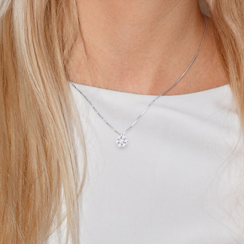 Collier Solitaire Joaillerie Prestige - Diamants - Or Blanc - vue V2