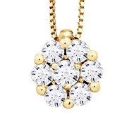 Collier Solitaire Diamants 0,35 Cts Serti illusion 1,25 Cts  Or Jaune
