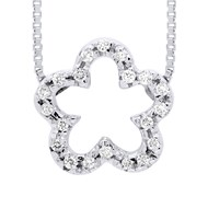 Collier Fleur Diamants - Or Blanc