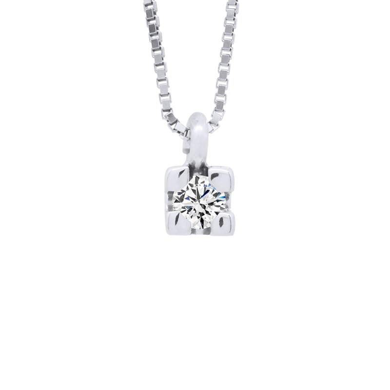 collier solitaire or blanc femme