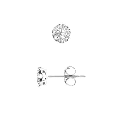 Boucles d'Oreilles - Diamants - 2 Brillants - Or Blanc - vue V1