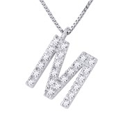 Collier Diamant LETTRE M - Or Blanc 18 Carats
