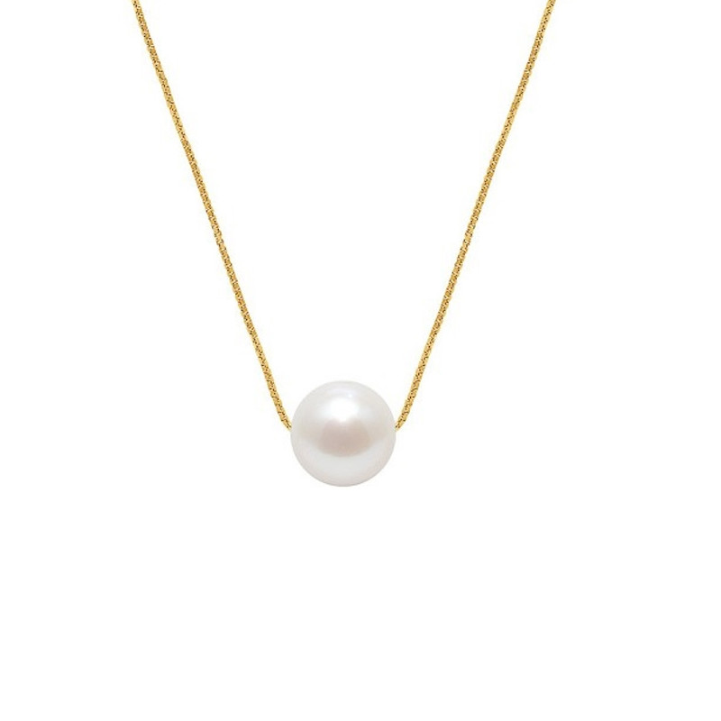 collier perle blanche femme