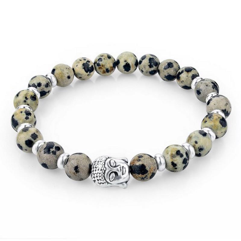 meilleur service d6a94 aca24 Bracelet Stretch en Pierres Naturelles Beiges et Tête de Bouddha Argentée