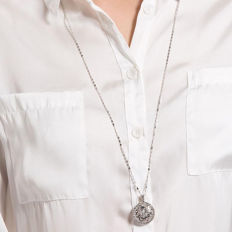 Et Swarovski Plaqué Sautoir Elements Cristal De Cercle En Rhodium Femme Pendentif Collier Blanc CEdoexrQBW