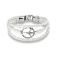 Bracelet Homme Peace and Love Multi Rangs en Cuir Blanc et Acier Inoxydable