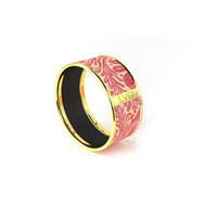 Legend Vogue - Bracelet Bangle Or Jaune Flaming Phoenix Rouge