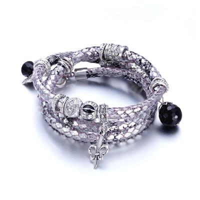 657531c8c07bb Bracelet Multirangs Cuir Argent imitation Serpent, Charms et Beads en  Cristaux Swarovski Elements Blanc,