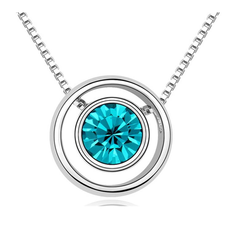Bleu Swarovski De Element Et Cercle Cristal Collier xCoedBr