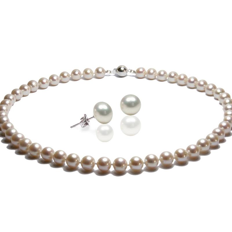 84acee0726f Parure Femme Collier Ras du cou et Boucles d Oreilles Perles de culture d