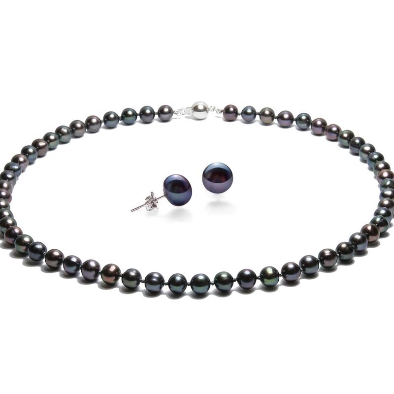 0d5baa9ce8464 Parure Collier et Boucles d'Oreilles Perles de culture Noir et Argent 925 -  vue