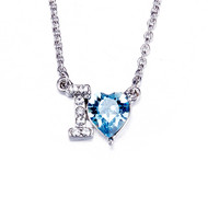 Collier Coeur I love You orné de cristaux de Swarovski Bleu