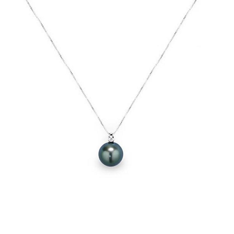 achats pour toute la famille nouvelles promotions Collier Pendentif Perle de Tahiti, Diamants et Or Blanc 750/1000