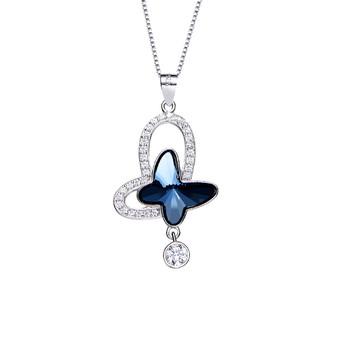 Collier Pendentif Femme Papillon en Cristal de Swarovski Elements Bleu et  Cristaux Blancs 8246ef3834af