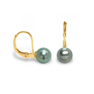 Boucles d/'Oreilles Puces Femme Perles de Tahiti et or jaune 375//1000