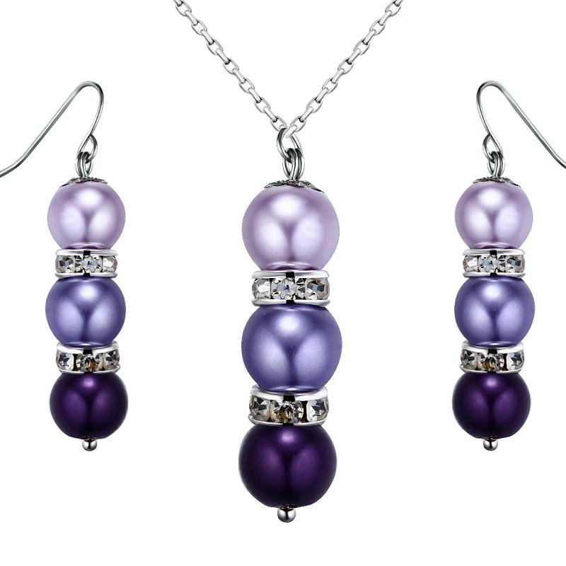 Plaqué Et Collier Parure ViolettesCristal D'oreilles Perles Rhodium Boucles pUMSVGzq