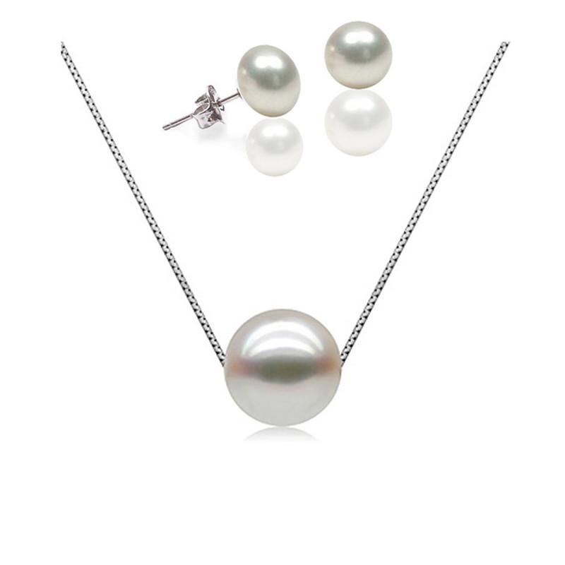 f578bce4e0088 Parure Collier et Boucles d'oreilles Femme Argent 925/1000 et Perle de  Culture
