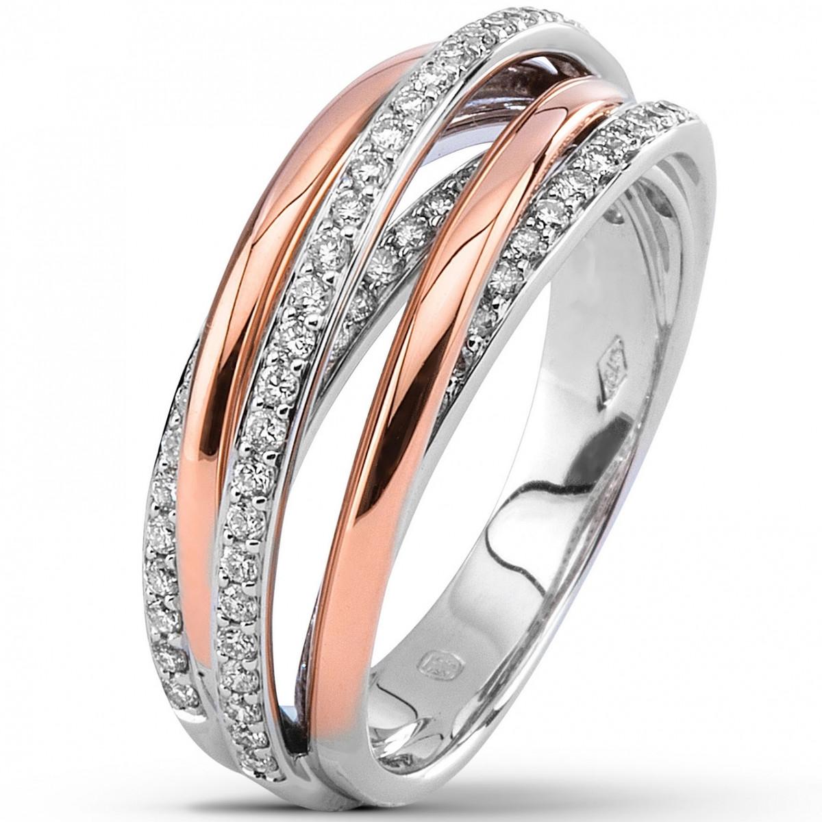 bague or bicolore et diamant