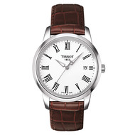 Montre Tissot Classic Dream cuir marron cadran blanc
