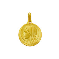 Médaille ronde Vierge or jaune 18 carats