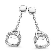 Boucles d'oreilles Brillaxis carré central empierré