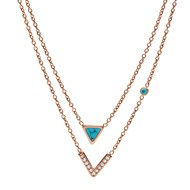 Collier Fossil double rang turquoise acier rose