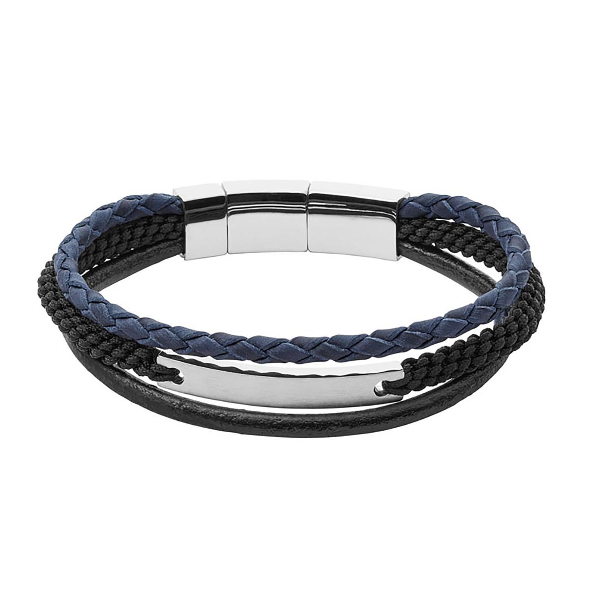 sélection premium a05aa ab905 Bracelet homme Fossil Vintage casual multi-rangs acier blanc