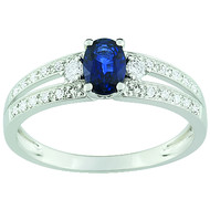 Bague Brillaxis saphir diamants double rang (BRILLAXIS)