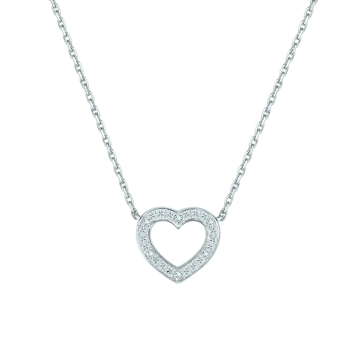 Collier Brillaxis coeur diamants or 9 carats