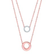 Collier Brillaxis Eclipse double cercles or rose