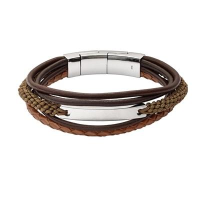 magasin en ligne 8a0c9 4adfb Bracelet Fossil cuir marron multi-rangs