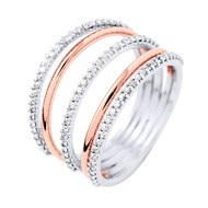 Bague Satellite Joaillerie Prestige - Diamants - Or Blanc et Or Rose
