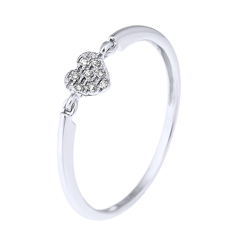 bague or blanc diamant coeur