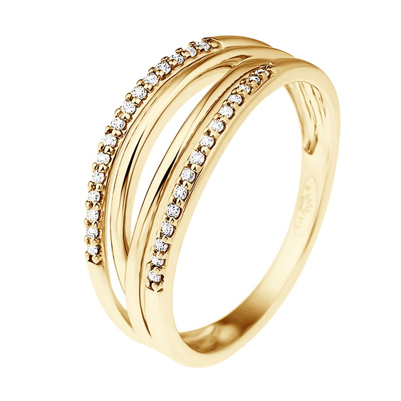check-out bf58e dd8a5 Bague Jonc Double Diamants - Or Jaune