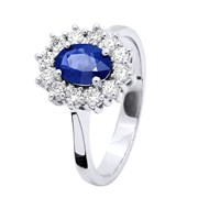 Bague SAPHIR Entourage Diamant - Or Blanc