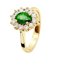Bague EMERAUDE Entourage Diamant - Or Jaune