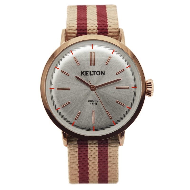 Montre Metalic Pink Gold mixte chromé bracelet nato