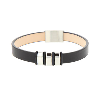 7890b1f8be8912 Bracelet homme cuir noir et acier inoxydable. Nouveauté. LO S BIJOUX