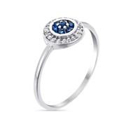 Bague Or Blanc, Diamants 0,07 carat et Saphir 0,18 carat 'BOUCLIER'