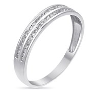Alliance Or Blanc et Diamants 020 carats Alliance 2 rangs d'amour