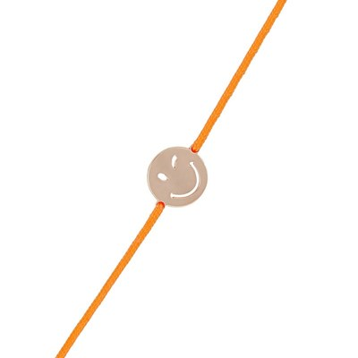 Bracelet cordon Smiley vermeil rose et cordon orange 'Sympa' - vue V1