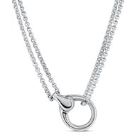 Collier fermoir mousqueton M Argent 925