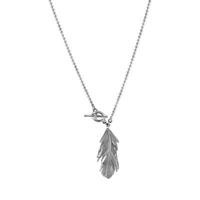 3d9c2583819 Sautoir chaîne boule pendentif plume Argent 925 - Femme - Collier