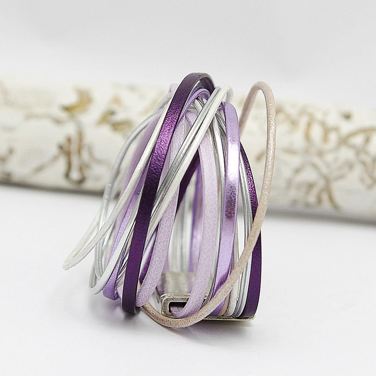 bracelet cuir violet