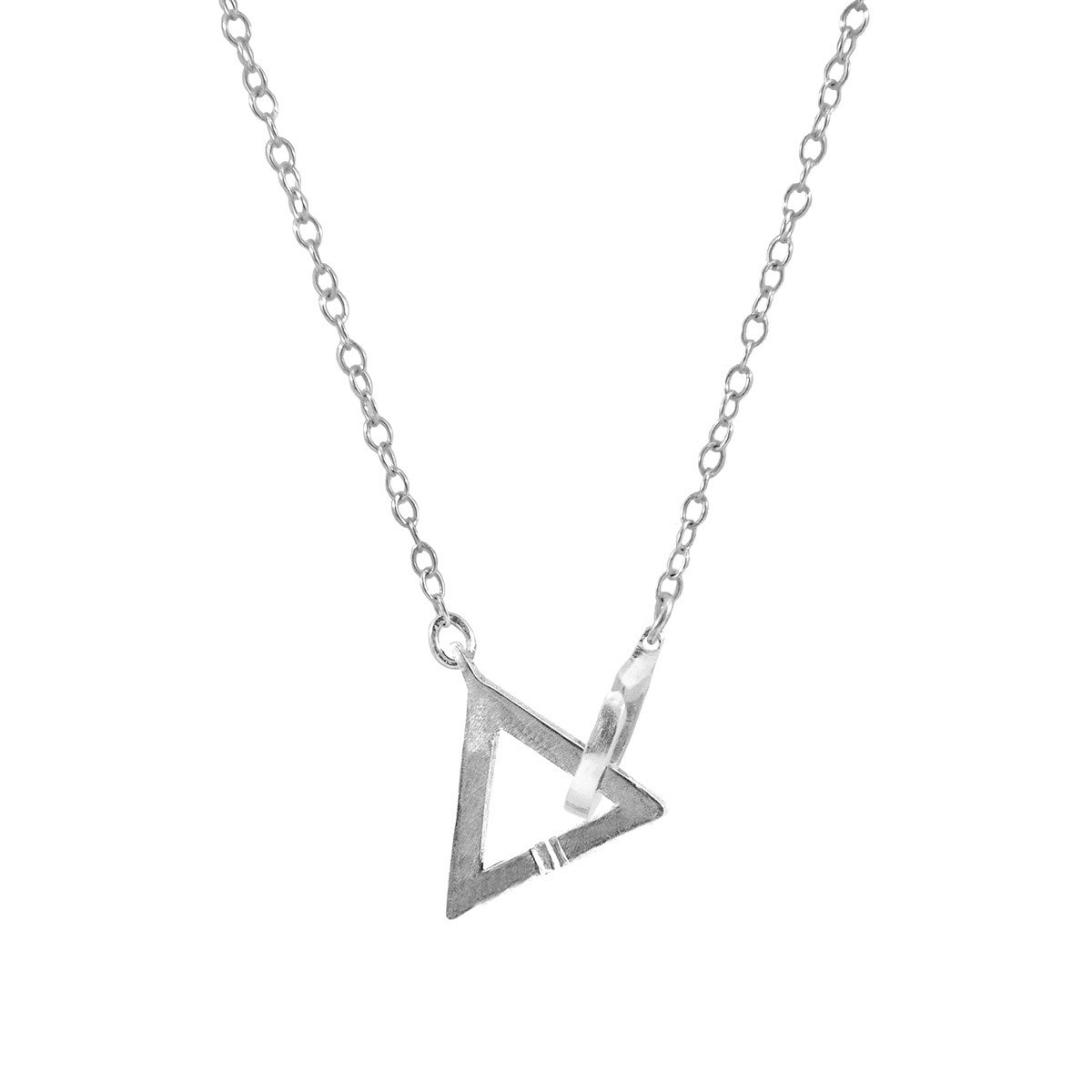 collier femme argent triangle