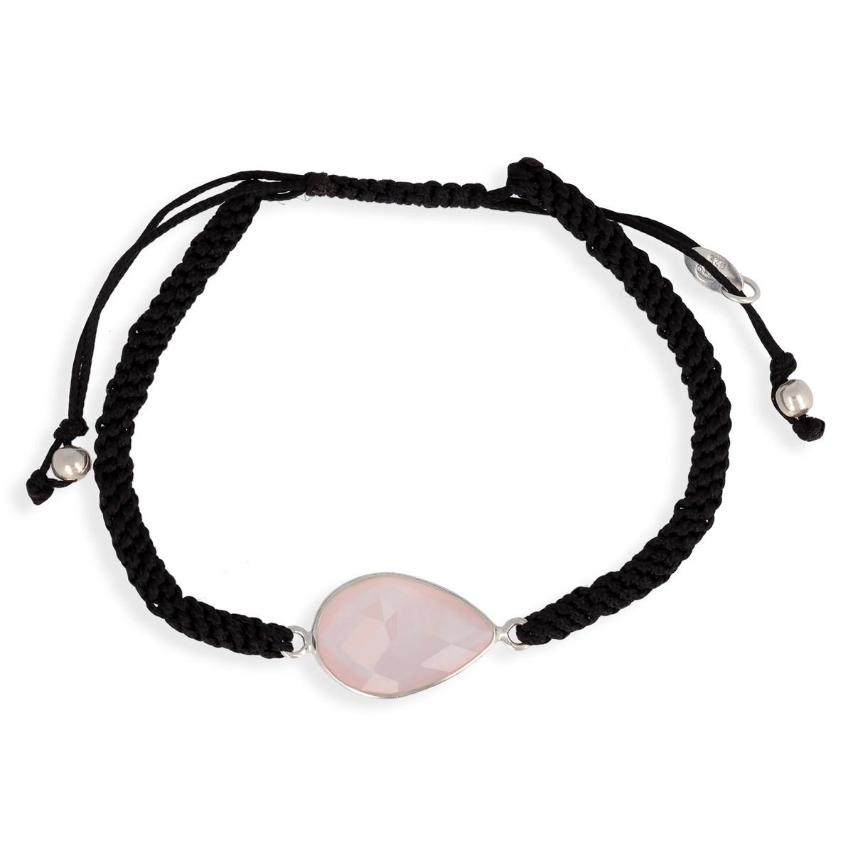bracelet argent quartz rose