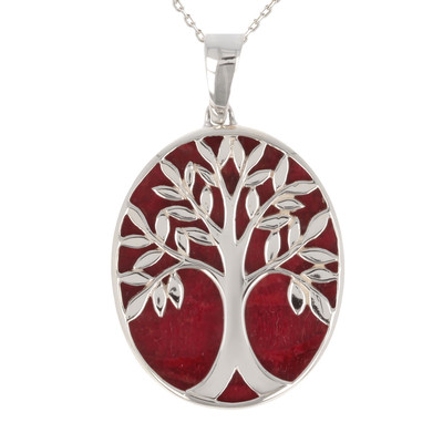 270cbd612b1 Idée cadeau bijoux symbole Arbre de vie-Pendentif - Corail- Argent  massif-ovale